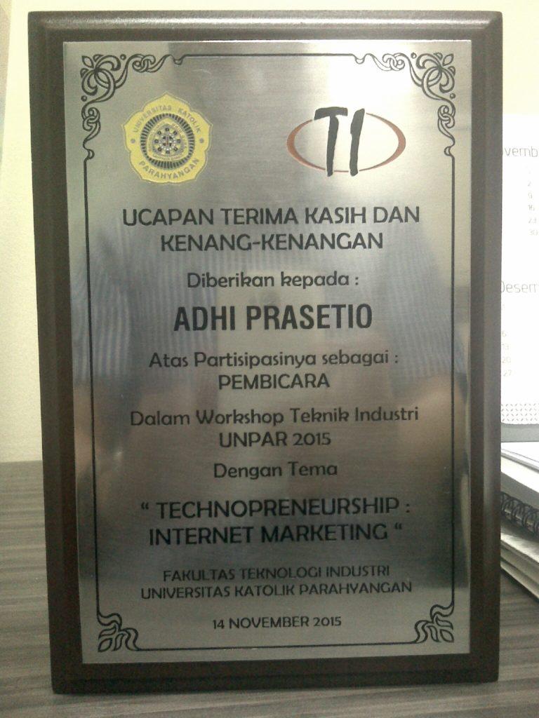 Plakat Pembicara Digital Marketing di UNPAR Bandung